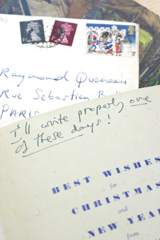 The collection includes postcards and Christmas cards sent between 1946 and 1975