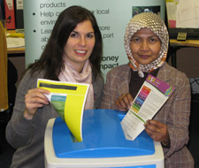 Nicola Corrigan and Nor Aziz from the Sustainability Team show off one of the recycling bins that have helped the University to increase the waste its recycles by a quarter