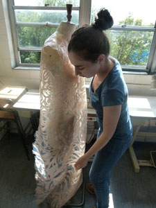 Ninela Invanova works on one of her designs in Kingston University's Knights Park Studios.