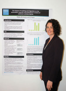 Kingston University Nutrition student Iona Baker with her prize-winning poster design.