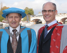 Professor Thomas Bolton, who was awarded an honorary doctorate from Kingston University, with the University's Dr Nicholas Freestone.