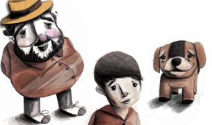 Student Sam Falconer's illustration of three characters from Sir Salman Rushdie's Luka and the Fire of Life.