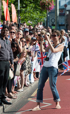 Crowds turned out in their hundreds to catch a glimpse of the Olympic torch.