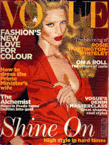 Vogue magazine covers recreated in cross stitch by Inge Jacobsen.