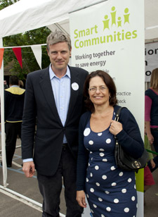 Zac Goldsmith with Smart Communities project leader Dr Ruth Rettie from Kingston University's Business School.