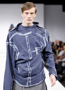 Zac Marshall's experimental approach to pattern cutting gives this shirt a distinctive draped look.