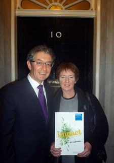 Dr Rosemary Athayde and Professor Robert Blackburn from Kingston University with Dr Athayde's report at 10 Downing Street.