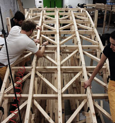 The students at the University's Knights Park campus had 10 days to recreate the 1:3 scale version of part of the Kintaikyo Bridge in western Japan.