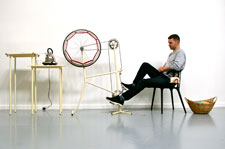 The un-knitting machine is based on pedal power and built around an old bicycle frame.
