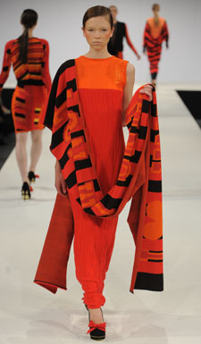 An over-sized scarf was emblazoned with Lucy Hammond's collection theme.