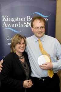 Deborah Lock with Malcolm Johnson, winner of the Best Business for Development and Training Award sponsored by Kingston University.