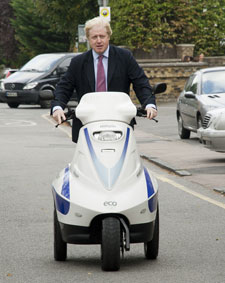 The Mayor of London, Boris Johnson, visited Kingston University in October 2011 to launch the Green Growth Bootcamp . He visited an exhibition of sustainability research, design and business and is pictured here on an electric 'Raptor Trike'.