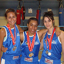 Tenesha Williams with Kingston silver medalists Nichola Garcia (left) and Sanaz Sedigh (right)